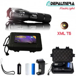 DEPALMERA® FlashLight LINTERNA LED Recargable Tactica Policial DP812-T6