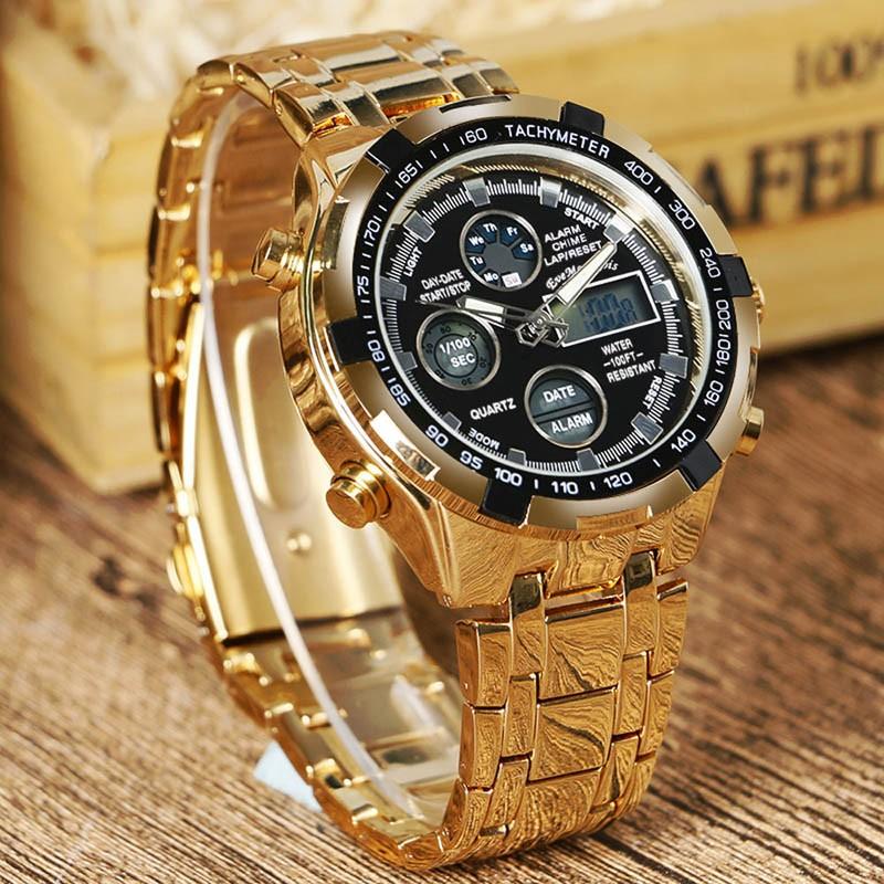 Reloj Para Hombre Dorado Esfera Negra