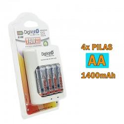 Cargador Baterías para Pila Ni-MH AA, AAA, 9V + Pilas Recargables AA 1400mAh R6